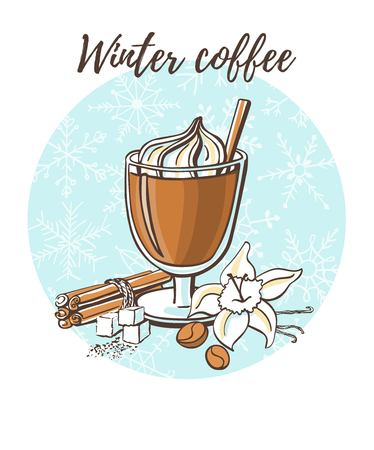 Winter coffee Vector illustration Фото со стока - 90866258