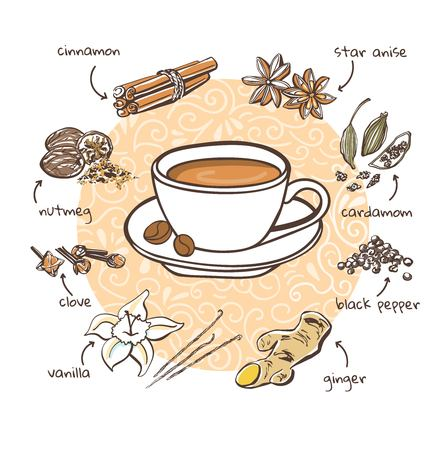 Spices for coffee. Vector illustration with soft drink and additive. Hand drawn cup with hot beverage and doodle ingredients. Recipe card with isolated objects on beige decorative circle background.