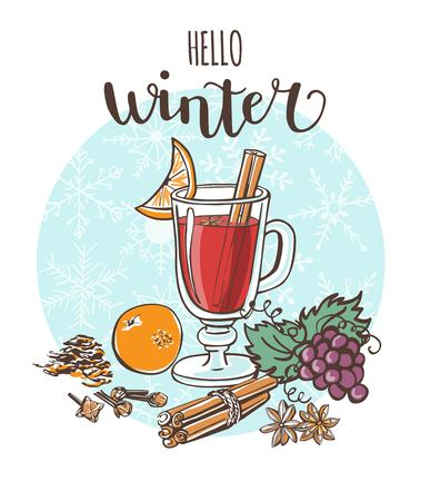 Hello winter Mulled wine Vector illustration