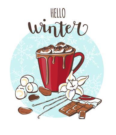 안녕하세요 겨울 마쉬 멜 로우와 코코아 벡터 일러스트 레이션 일러스트