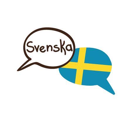 Vector l'illustrazione con due fumetti disegnati a mano di scarabocchio con una bandiera nazionale della Svezia e del nome scritto mano della lingua svedese. Design moderno per la lingua. Archivio Fotografico - 90937294