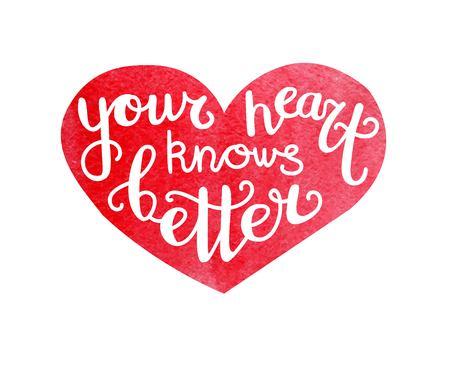 Je hart weet beter. Vectorillustratie met hand belettering en rood hart met heldere aquarel textuur. Stock Illustratie