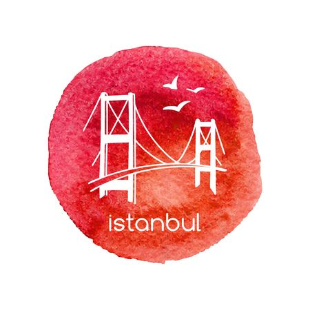 Hand drawn vector illustration Istanbul with hand drawn doodle turkish symbols: the bridge and seagulls. Simple minimalistic design of white outline on isolated bright red textured circle stain. Standard-Bild - 94842308