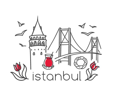 Modern vector illustration Istanbul with hand drawn doodle turkish symbols: Galata tower, tea glass, seagull, tulip, Bosphorus bridge, simit bagel. Simple minimalistic design with black outline. Ilustracja