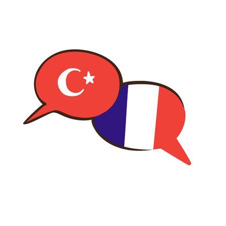 Vectorillustratie met twee hand getrokken doodle tekstballonnen met nationale vlaggen van Turkije en Frankrijk. Modern ontwerp voor een vreemde taalcursus, lessen, school of vertaalbureau. Stock Illustratie