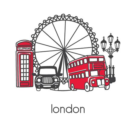 Modern vector illustration London with hand drawn doodle English symbols: double decker bus, telephone box, street lamp, cab, big wheel. Simple design with black outline isolated on white background. Ilustração