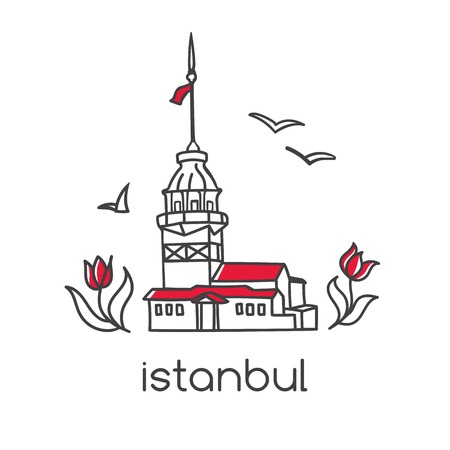 Hand drawn doodle outline vector illustration of famous landmark in Istanbul - Maiden tower, tulip flowers and seagulls. Tourism and travel modern design with Turkish symbols.