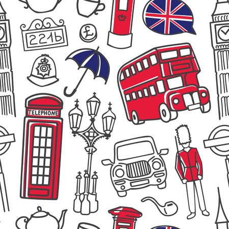 Vector seamless pattern London with hand drawn doodle english symbols: double decker bus, telephone box, umbrella, tea pot. Modern design in blue, red, white for print, wrapping paper, wallpaper.