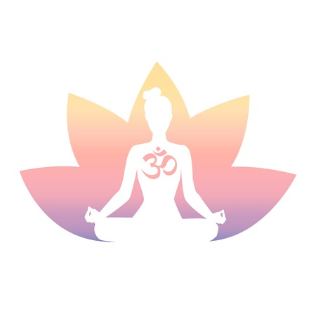 Meditation. Woman silhouette, religious symbol, lotus flower in pastel colors gradient. Isolated on white.