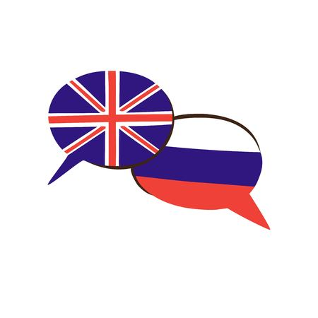 Two hand drawn doodle speech bubbles with national flags of Russia and the United Kingdom vector illustration. Modern design for foreign language course, classes, school or translation agency. Illustration