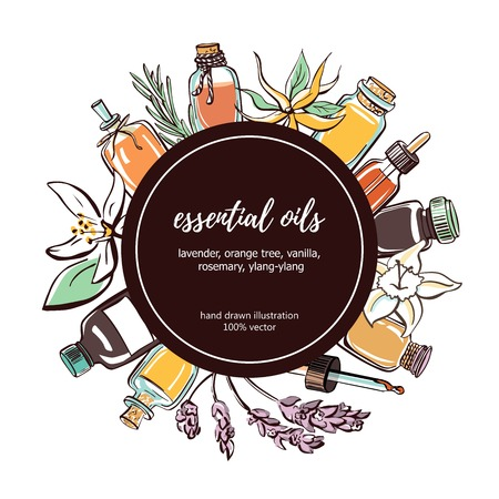 Essential oils vector illustration. Hand drawn doodle bottles, aromatic plants and flowers and black square frame with place for your text. Aromatherapy card, poster, flyer design.