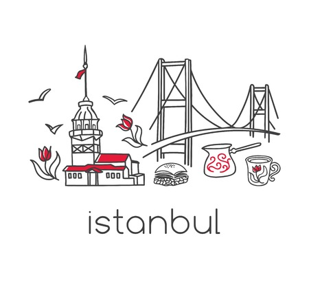 Istanbul, hand drawn doodle Turkish symbols: bridge, coffee cup, bagel, tower, tulip. Design with black outline isolated on white modern vector illustration. 일러스트