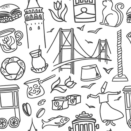 Istanbul symbols seamless pattern vector illustration with hand drawn black doodle outline on white background. Modern clear line design for touristic print, backdrop, wrapping paper or wallpaper.