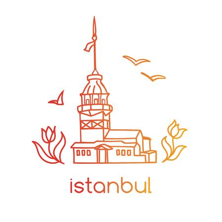Vector illustration with hand drawn doodle outline of famous landmark in Istanbul - Maiden tower, tulip flowers and seagulls.