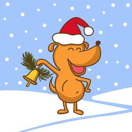 귀여운 행복 강아지 ?? 빨간 모자와 손에 벡터 일러스트 레이 션. 새 해와 크리스마스 만화 흰색 배경에 고립. 일러스트