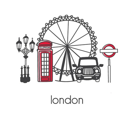 Modern vector illustration London with hand drawn doodle english symbols: double decker bus, telephone box, street lamp, cab, big wheel. Simple minimalistic design with black outline isolated on white Çizim