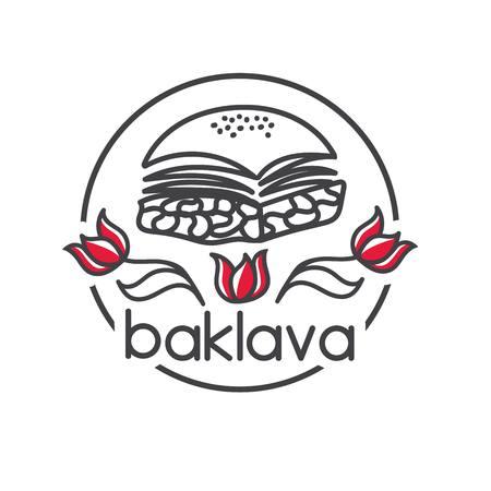 Baklava. Turkish dessert. Clear modern vector illustration with red tulips. Hand drawn doodle elements for minimalistic label, logo, badge or card design for cafe, bakery or street food market. 向量圖像