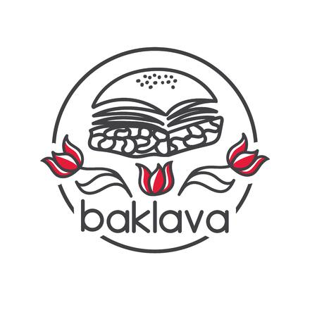Baklava. Turkish dessert. Clear modern vector illustration with red tulips. Hand drawn doodle elements for minimalistic label, logo, badge or card design for cafe, bakery or street food market. Illustration