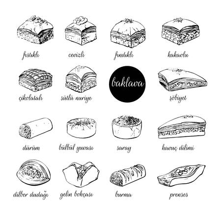 Big set of vector hand drawn illustrations with Turkish dessert Baklava. Assorted sweets black outline isolated on white background. Mix of different pastry products for menu, card, flyer, poster design.