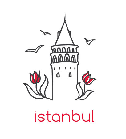 A Vector illustration with hand drawn doodle outline of famous landmark in Istanbul - Maiden tower, tulip flowers and seagulls. Stock Illustratie