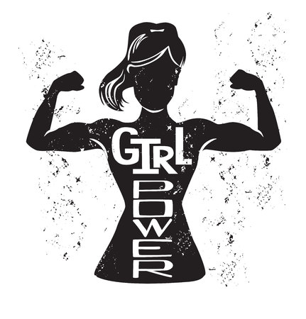Girl power. Vector lettering illustration with black female silhouette doing bicep curl and hand written inspirational phrase and grunge texture.  イラスト・ベクター素材