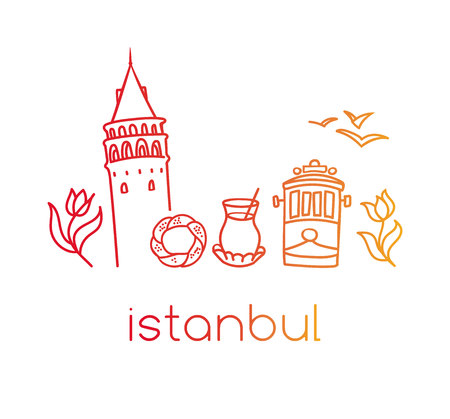 Sketch vector illustration of famous Turkish symbols of Istanbul, Turkey. Hand drawn landmarks silhouettes with red, orange and yellow gradient.