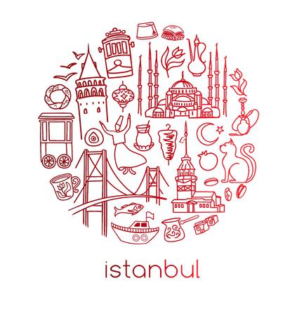 Modern vector illustration of Istanbul with circle composition of hand drawn Turkish symbols. Outline doodle elements with red gradient. City tourism design conception simple style.
