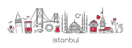 Nowoczesna ilustracja wektorowa Stambuł z ręcznie rysowane doodle tureckie symbole. Ilustracje wektorowe
