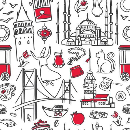 Istanbul symbols. Hand drawn vector seamless pattern with black outline doodles and red color on white background. Modern clear line design Illustration