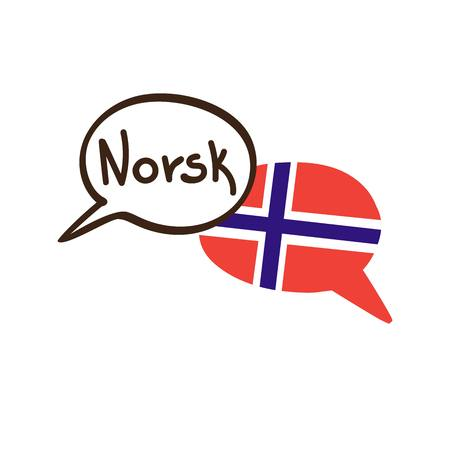 Vector illustration with two hand drawn doodle speech bubbles with a national flag of Norway and hand written name of the Norwegian language. Modern design for language.