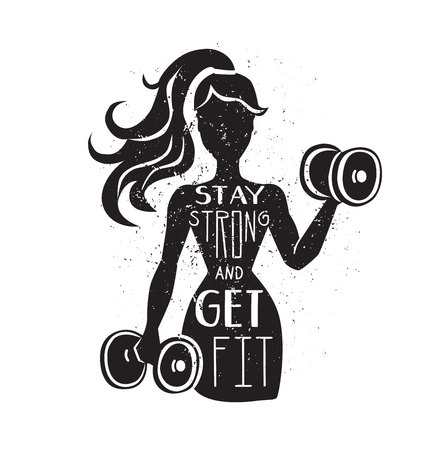 Stay strong and get fit. Motivational vector lettering illustration. Black female silhouette with dumbbells. Hand written phrase and grunge texture. Inspirational fitness card, poster or print design.