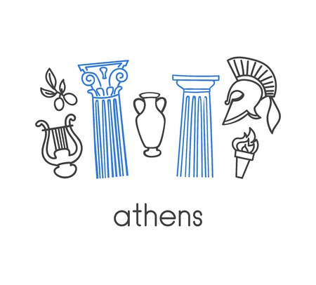 Greek language school vector illustration. Open book, symbols of Greece, ancient column, gladiator helmet, lyre, ancient vase, olive. Hand drawn doodle objects isolated on white background with place for text.