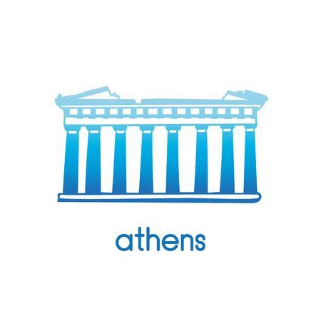 Hand drawn vector illustration Parthenon Athens with hand drawn doodle Greek symbol. Simple icon design in a national Greek blue color gradient isolated on white background.