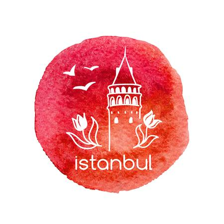 Hand drawn vector illustration of Istanbul with doodle Turkish symbols. The Galata tower, tulips and seagulls. Simple design of white outline on isolated bright red watercolor circle stain.