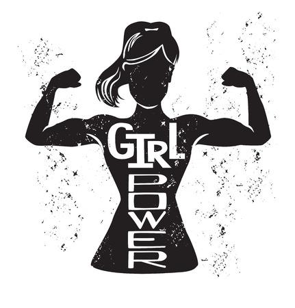 Girl power vector ilustración de letras con silueta femenina negra haciendo curl de bíceps y frase inspiradora escrita a mano y textura grunge. Tarjeta de motivación, póster o diseño de impresión.