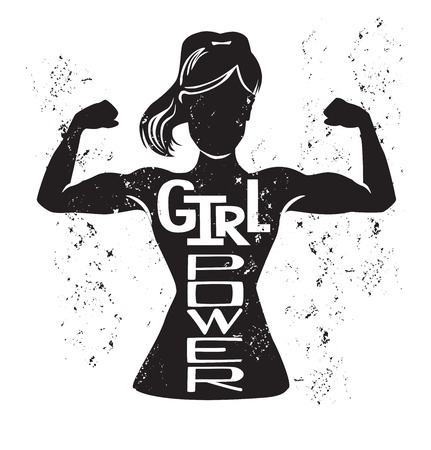 Girl power vector lettering illustration with black female silhouette doing bicep curl and hand written inspirational phrase and grunge texture. Motivational card, poster or print design. Çizim