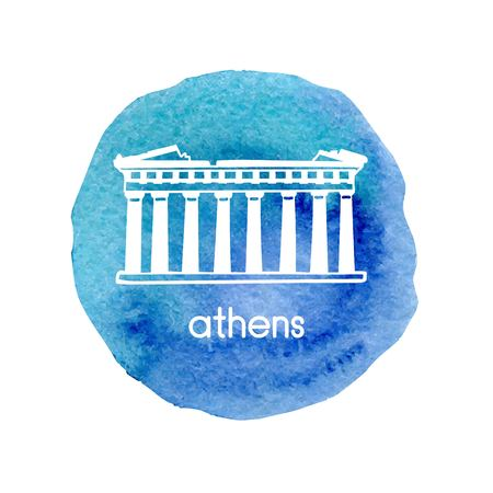 Hand drawn vector illustration Parthenon in Athens, Greece with hand drawn doodle Greek symbol. Simple design of white outline on isolated bright blue textured circle stain.