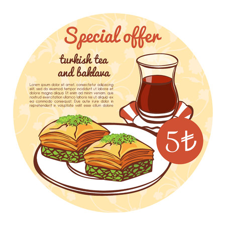 Vector square template with oriental middle eastern baked dessert with pistachio and Turkish tea in a traditional glass. Special offer menu design for cafe or restaurant promotion posters, cards. Ilustrace