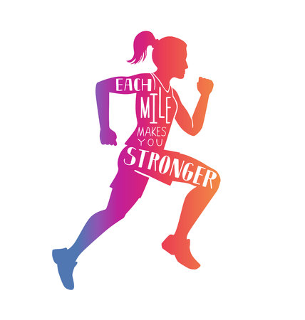Each mile makes you stronger. Motivational running illustration with silhouette of woman, hand written inspirational quote and colorful gradient. Fitness lettering card, poster, print design. Vectores