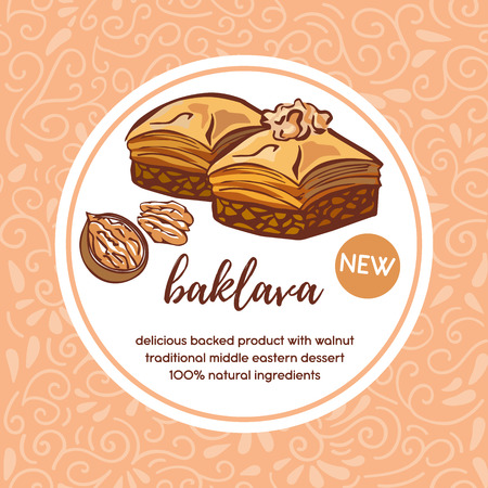 Vector card template with traditional middle eastern dessert Baklava with walnut. Hand drawn doodle illustration with white circle frame. Package, badge, label, sticker or menu cover design.