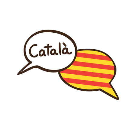 Vector illustration with two hand drawn doodle speech bubbles with a flag of Catalonia and hand written name of the Catalan language. Modern design for language. Stok Fotoğraf - 98532158