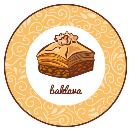Vector icon illustration for traditional Turkish dessert Baklava with walnut in circle frame with floral ornament. Colored hand drawn doodle object isolated on a beige. Illustration