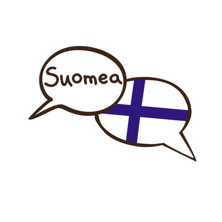 フィンランドの国旗を持つ2つの手描きの落書きスピーチバブルを持つベクトルイラスト。言語のためのモダンなデザイン。