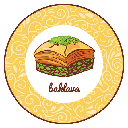 Vector icon illustration for traditional Turkish dessert Baklava with pistachio in circle frame with floral ornament. Colored hand drawn doodle object isolated on beige round label with swirls.