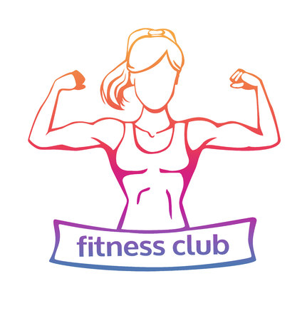 Modern fitness club icon in colorful gradient in orange, pink, purple, violet colors. Vector line illustration of a woman doing bicep curl. Isolated on white background.