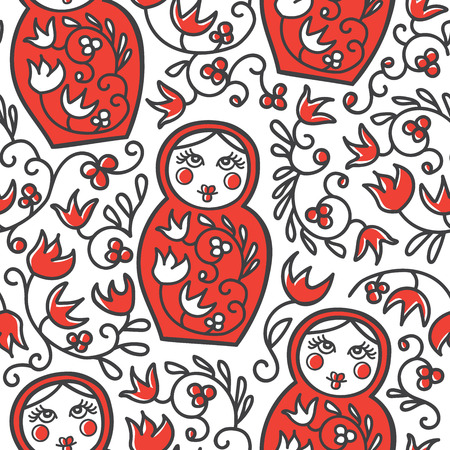 Vector seamless pattern with traditional Russian floral ornament and Matryoshka doll. Hand drawn repetitive pattern with line objects in dark gray and red colors on white. Print, wrapping paper design.