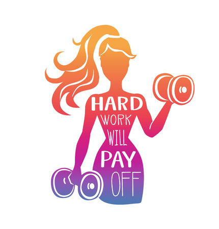 Hard work will pay off. Vector fitness illustration with motivational phrase. Female silhouette with dumbbells in colorful gradient with hand lettering. Inspirational card, poster or print design.