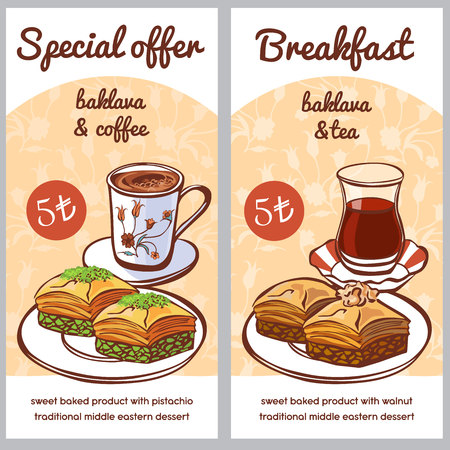 Vector card templates with traditional Turkish dessert Baklava with hot beverages - coffee and tea. Special offer and Breakfast menu design for cafe or restaurant promotion flyers, posters, banners.