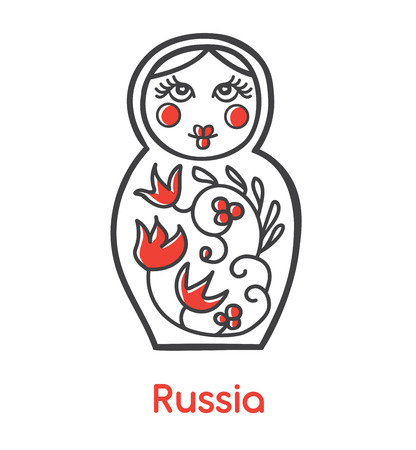 Vector flat icon illustration with traditional Russian doll Matryoshka souvenir with floral ornament. Black outline and bright red elements isolated on white background Welcome to Russia modern design. Illustration