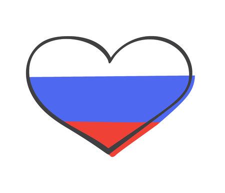 Vector hand getrokken illustratie met nationale vlag van Russische Federatie in doodle hart vorm geïsoleerd op een witte achtergrond. Moderne eenvoudige vlakke afbeelding.